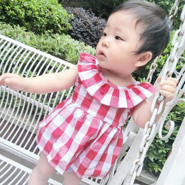132a5a66f4ba Hot Sale Newborn Baby Girl Dresses Designs Summer Sleeveless Plaid ...