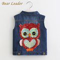 Bear Leader Girls Outerwear 2017 Autumn Cowboy Waistcoats Length Jacket Cartoon Owl Appliques Coat for Kids Sleeveless Vests