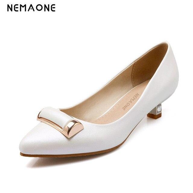 NEMAONE 2019 nueva elegante mujeres bombas punta dedo del pie tacones bajos mujeres  zapatos Oficina señora 1a1728595096