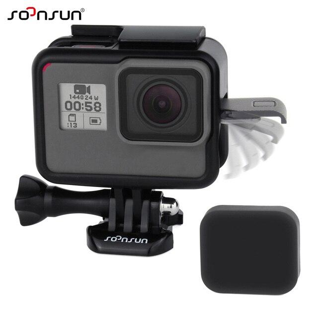 SOONSUN Standard Frame 실장 (smd, smt Wire 연결 가능한 보호 Housing Case 쉘 w/Soft Lens 캡 대 한 GoPro Hero 5 6 7 Black 카메라