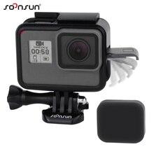 SOONSUN standart çerçeve dağı tel bağlanabilir koruyucu konut Case w/ Lens kapağı GoPro Hero 5 için 6 7 siyah git Pro aksesuarları