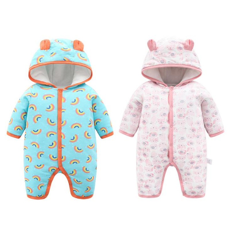 Hooded Baby Winter Clothes Cotton Soft Toddler Romper Full Sleeve Warm Newborn Jumpsuit for Baby Boys and Girl 3-18 Months