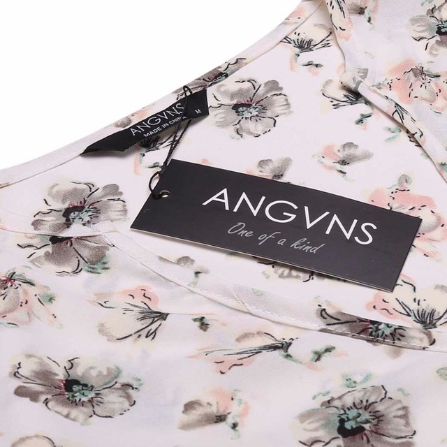 ANGVNS Women Chiffon Blouses Floral Shirts Deep V-Neck Autumn Blouse Long Sleeve Print Button Fabric Brand Tops Blusas Feminina