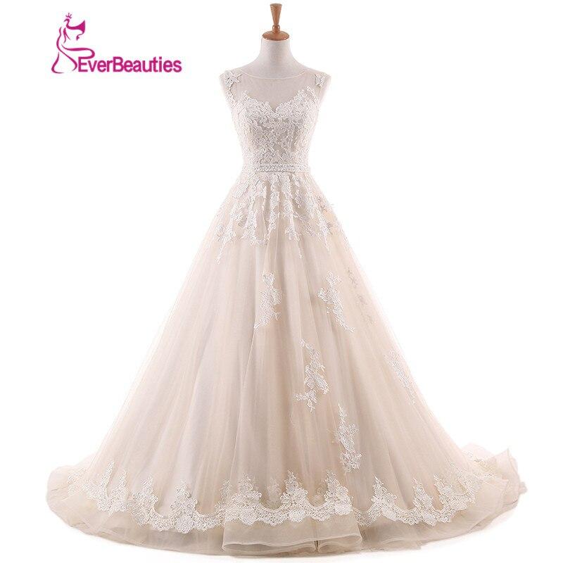 d0a7d37c7fd Vintage Dentelle Robe De Mariée A Ligne 2019 Dos Nu Appliques  Dentelle-Parole Longueur Tulle Robe De Noiva Robe De Mariage robes de mariée