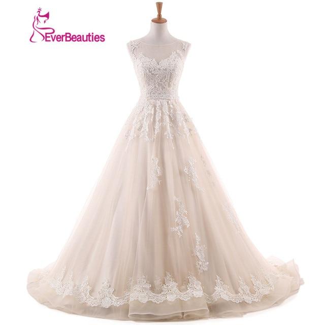 Vintage Lace Wedding Dress A Line 2018 Backless Appliques Lace Floor ...