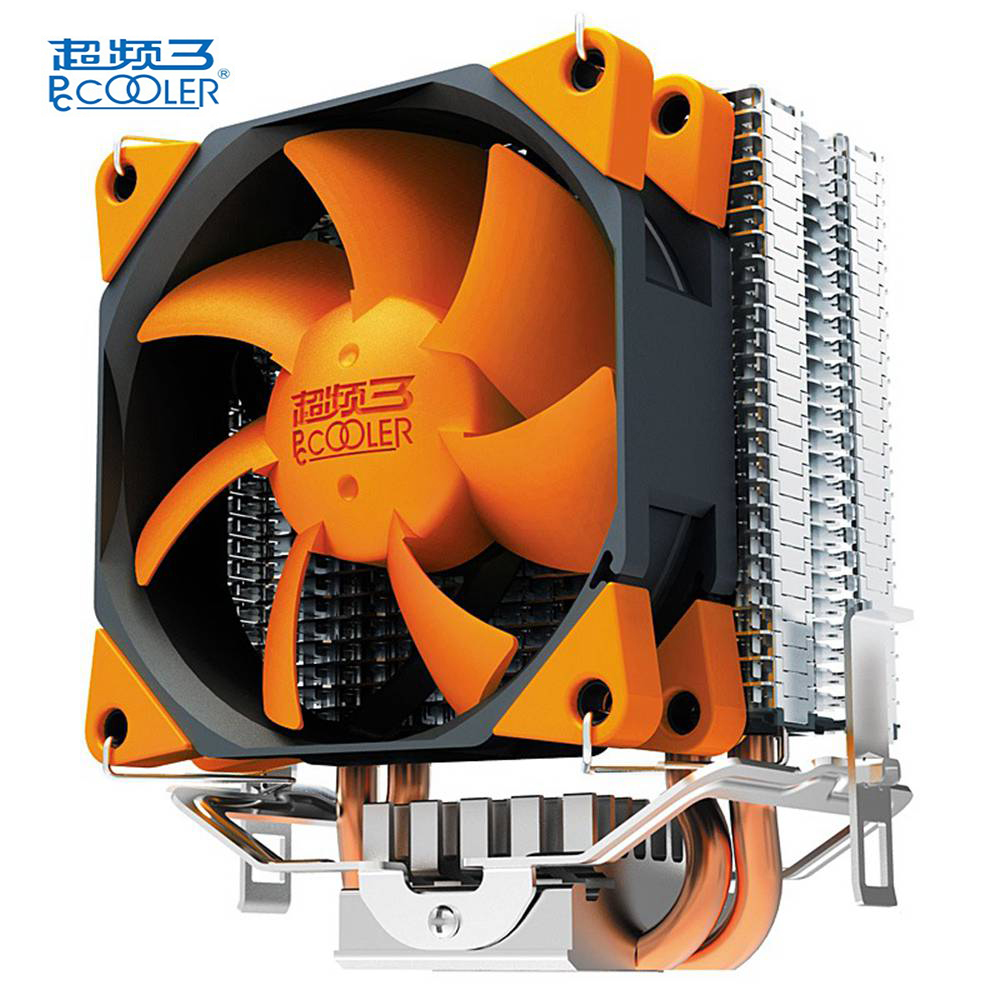 Pccooler S88 CPU Cooler Fan With 2 Heat Pipes 4 Pin 8cm PWM Mute Fan Cooling Computer PC For AMD Intel pcooler s90f 10cm 4 pin pwm cooling fan 4 copper heat pipes led cpu cooler cooling fan heat sink for intel lga775 for amd am2