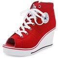 Женская Повседневная Холст Обувь Летняя Высокие Peep Toe Высокий каблук Клин Мода Высота Увеличение Большой Размер Обуви Женщин l221 65