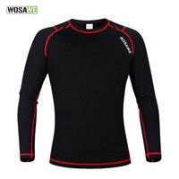 WOSAWE Inverno Esporte T Shirt Homens Roupas de Compressão Camada De Base De Lã Térmica Underwear Mulheres Crossfit Equipamento do Exercício