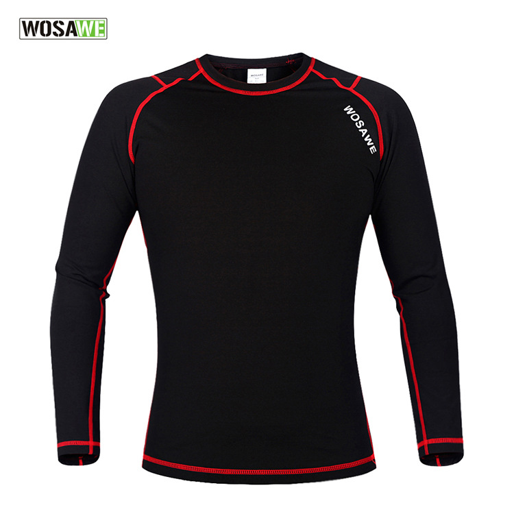 WOSAWE Winter Sport T Shirt Men Compression Base Layer Fleece Thermal Underwear Crossfit Women Clothing Excercise Equipment