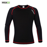 WOSAWE Winter Sport T Shirt Men Compression Base Layer Fleece Thermal Underwear Crossfit Women Clothing Excercise Equipment