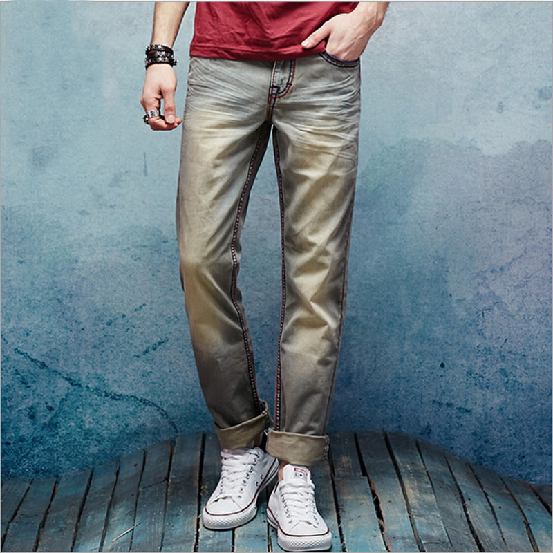 Vintage jeans straight slim casual style men jeans good quality cotton mens jeans fashion denim jeans men 2016 high quality mens jeans blue color printed jeans for men ripped button jeans casual pants quality cotton denim jeans