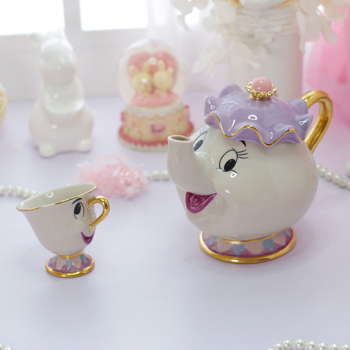Beauty And The Beast Tea Set Mrs Potts Chip Teapot Cup Ceramic Coffee Teaset Valentines Day Gift [1 Pot + 1 Cup + 1 Sugar Bowl]