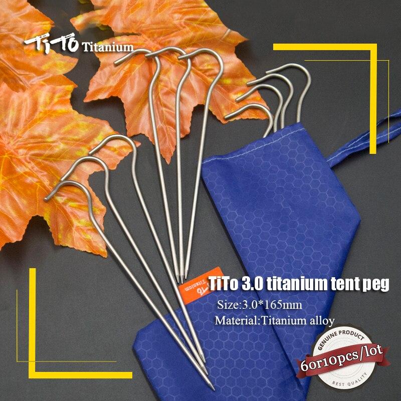 все цены на TiTo 10pcs/6pc Titanium Tent PegS Titanium tent nail Outdoor Camping Tent Accessory tent stake Bend Hook Head Diameter 3.0mm