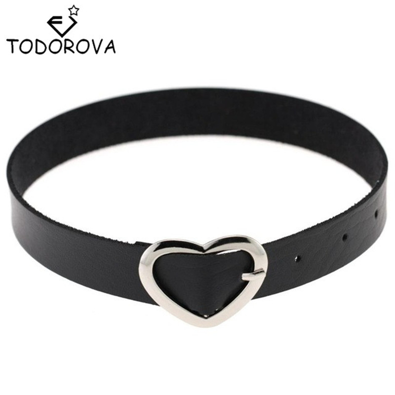 Todorova Leather Choker Necklace Gothic Steam Punk Rock Collar Statement Jewelry Necklaces Pendant Womens Clothing Accessories