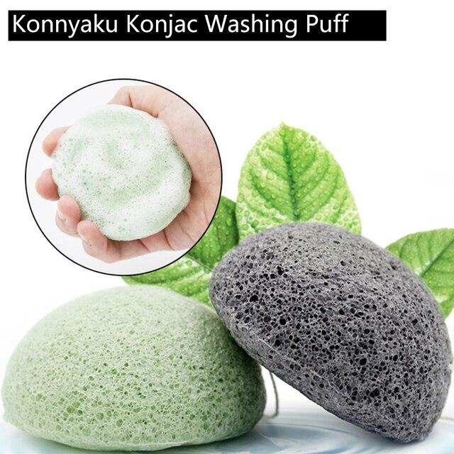 100% Natural Konnyaku Konjac Puff lavado de cara esponja exfoliante Limpieza de poros Limpieza de maquillaje belleza Facial esencial