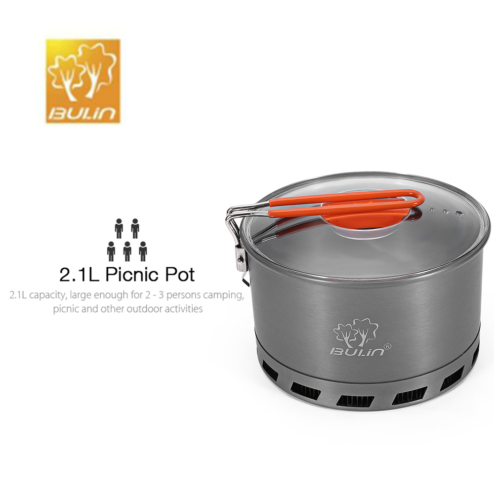 BULIN S2500 2.1L Camping Heat Exchanger Pot 2-3 Person Portable Cookware Picnic Quick Heat Kettle Camping Cookware Cooking PotBULIN S2500 2.1L Camping Heat Exchanger Pot 2-3 Person Portable Cookware Picnic Quick Heat Kettle Camping Cookware Cooking Pot