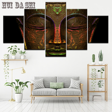 Canvas Paintings Wall Art Framework Home Decor Living Room 5 Pieces Golden Statue Of Buddha Posters HD Printed Abstract Pictures