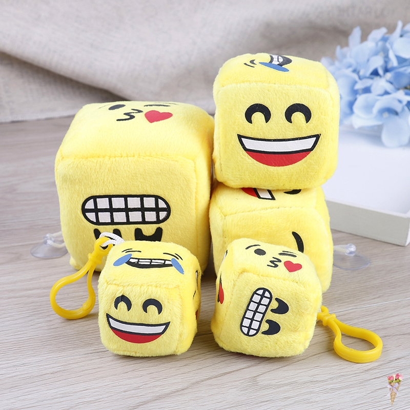1 Pc Yellow Face on Dice , Kawaii Kid's Mini 4/6/8CM Plush Stuffed TOY Plush Toy Doll Kid's Party Gift Toy