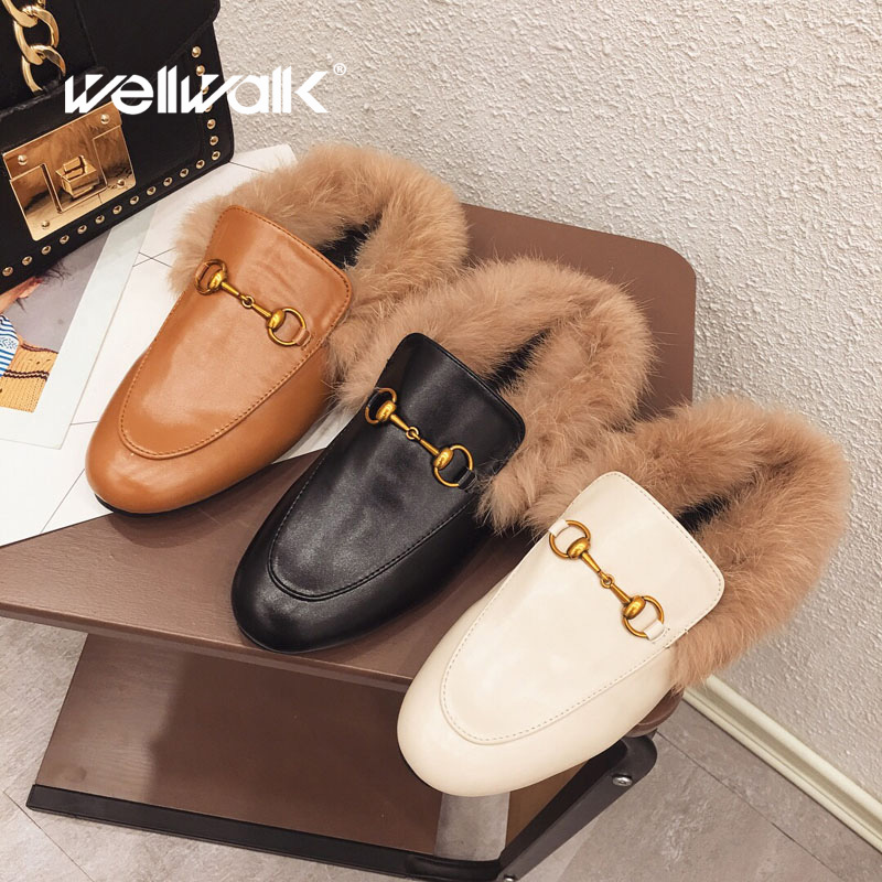 7538b1ee0 Autumn Shoes Women Fur Slippers Pointed Toe Mules Ladies Sliders Shoes  Luxury Buckle Fenty Beauty Furry ...