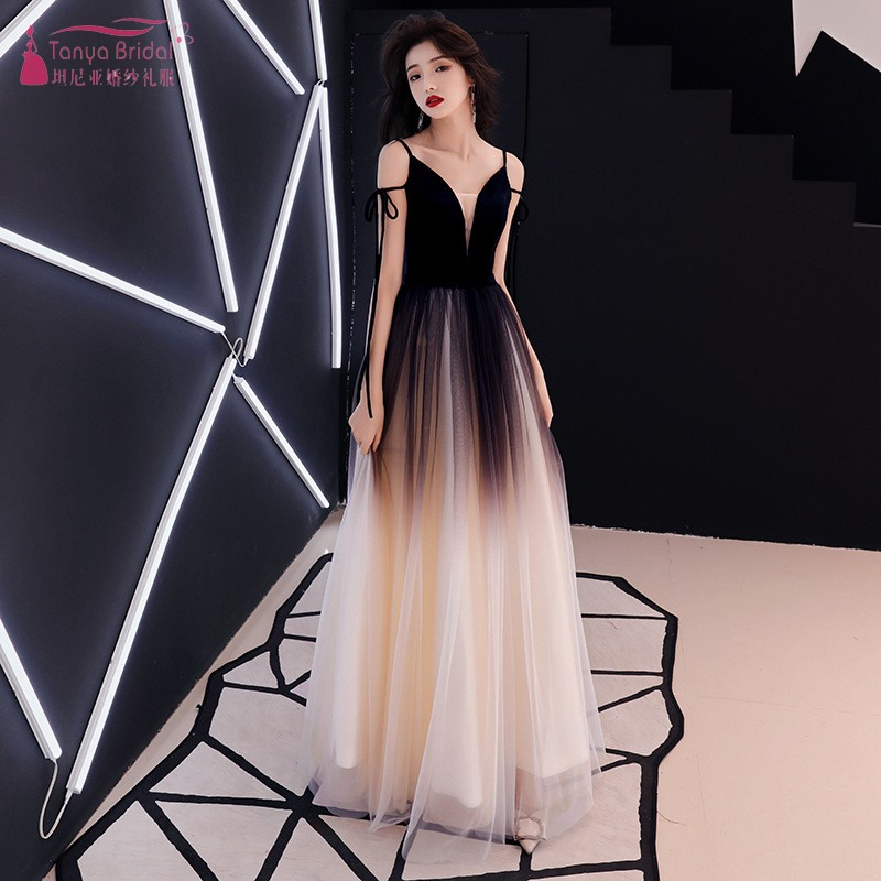 d37cc5d0c0ad4 Prom Dress Female 2019 New Fashion Elegant Black Temperament Evening  Dresses Dinner Reception dignified Long Style DQG688 - lztees