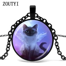 2018 / hot sale, cute gray fairy cat photo necklace angel wing cat pendant kitten jewelry animal glass dome jewelry(China)
