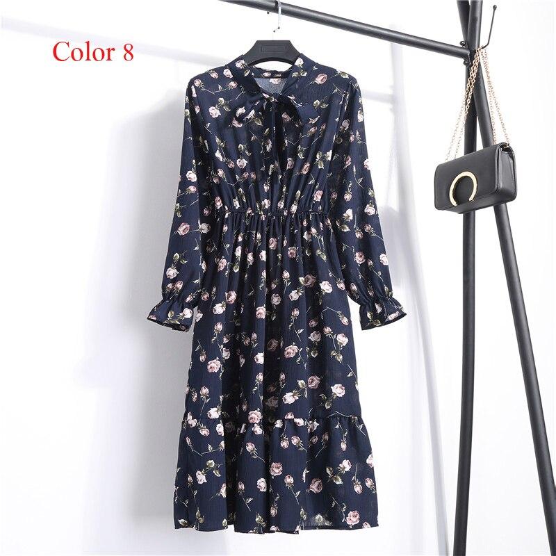 Chiffon High Elastic Waist Party Dress Bow A-line Women Full Sleeve Flower Print Floral Bohemian Dress Female Vestido Plus Size 16