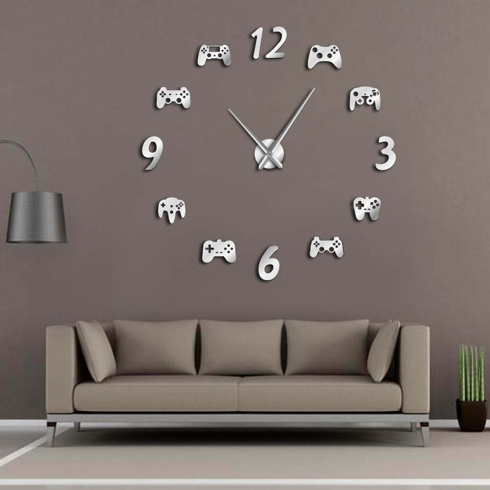 Video Game Controllers DIY Large Wall Clock Game Room Decor Modern Design Freamless Giant Wall Clock Game Boys Room Wall Watch