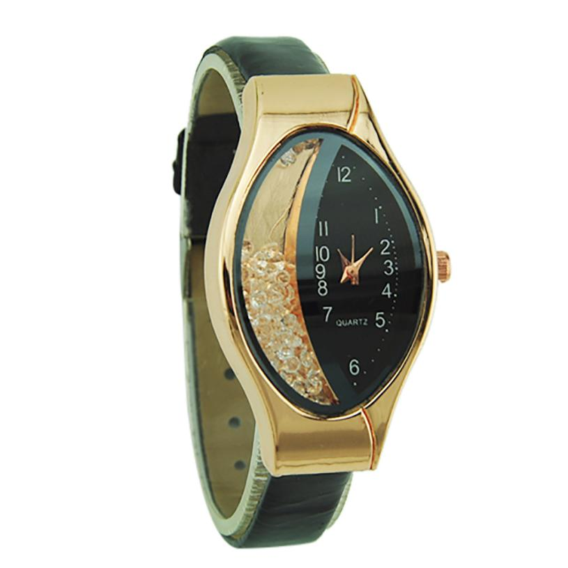 Beautiful Semilunar Flow Sand Type Ellipse Wrist Analog Alloy Gift Small Dial Wristwatch Women's Unisex Retro Casual  Faux #D