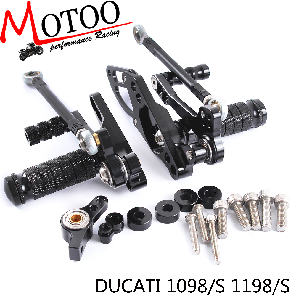 ФОТО Motoo - Full CNC aluminum Motorcycle Rearsets Rear Set For DUCATI STREETFIGHTER 1098/S 1198/S 2011-2014