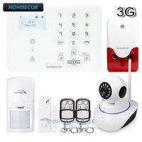 (Russische/Francais/Deutsch Menü Einstellbar) HOMSECUR Wireless & wired WCDMA-3G/GSM Home Security Alarm System + IOS/Android APP
