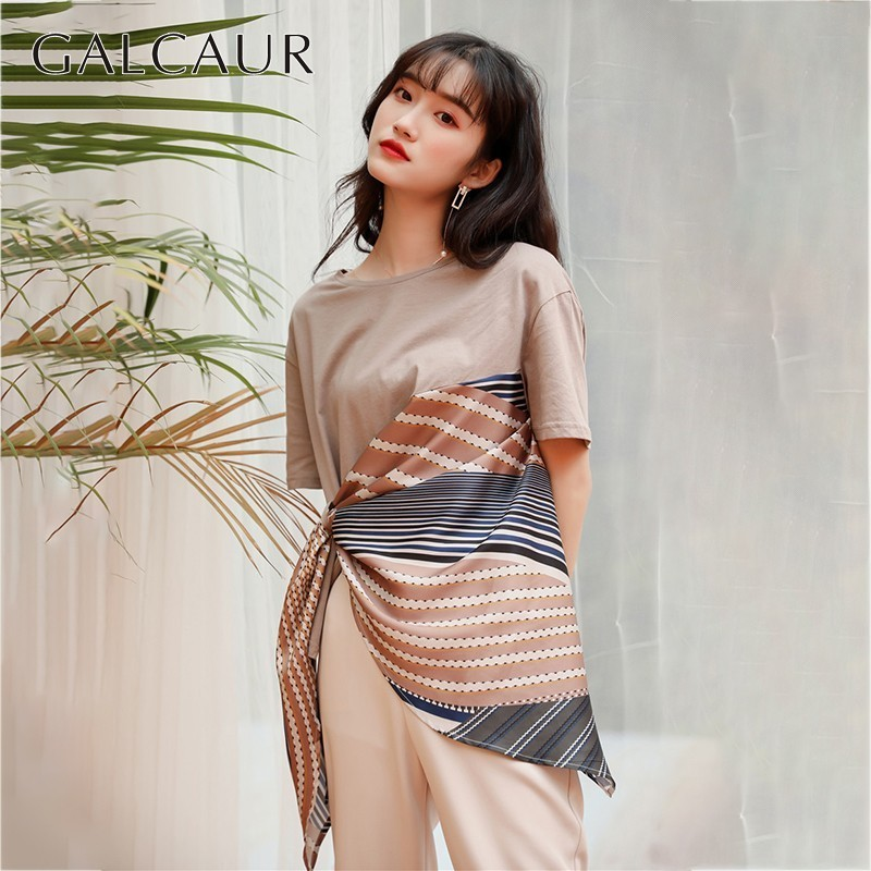 GALCAUR Irregular T-shirts Women O Neck Short Sleeve Patchwork Hit Color Asymmetrical Tops Female Summer 2019 Tide Fashion