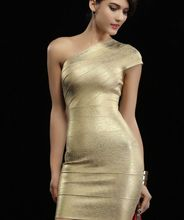 2017 gold summer dress bodycon bandage dress vestidos sexy one shoulder night club party dresses cocktail gown women backless