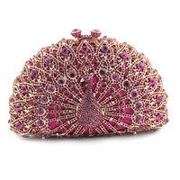 Luxury Handmade Crystal Rhinestone Ladies Elegant Wedding Evening Peacock Clutch Purse