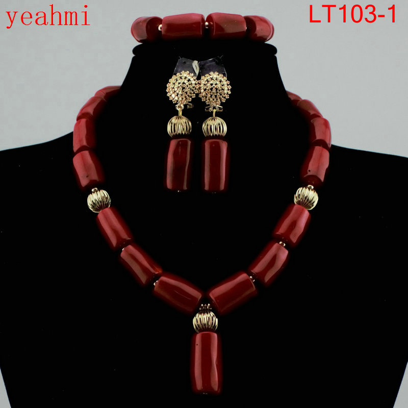 Fantastic Dubai Gold Bridal Statement Necklace Set Red African Jewelry Sets Crystal Beads Wedding Jewelry Free Shipping LT103-1 hot red statement choker necklace african wedding beads for women set dubai costume bridal lace jewelry set free shipping abf550