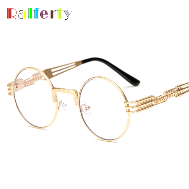 3ee8b8ce1 Ralferty Vintage Round Steampunk Sunglasses Women Men Steam Punk Gold  Eyewear Hip Hop Shades Teashades Transparent Clear Glasses