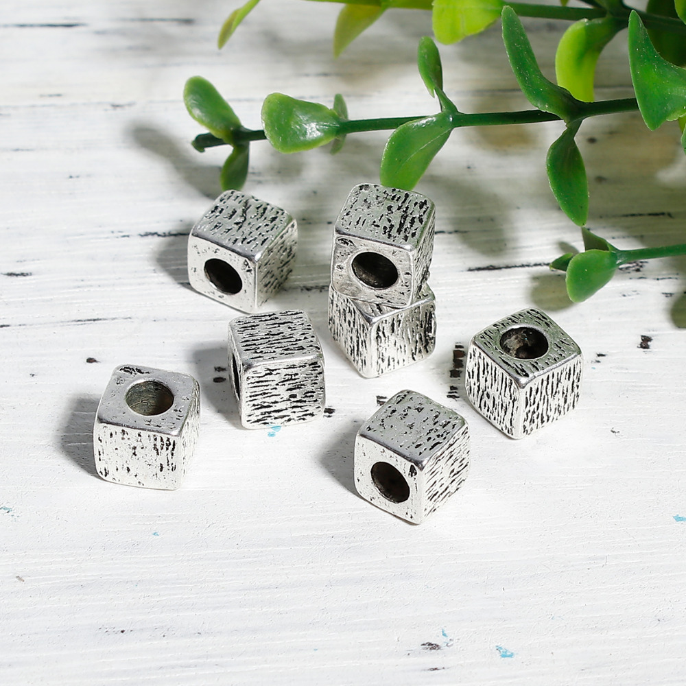 5 Pcs 3/8 Doreenbeads Zinc Based Alloy Antique Silver Diy Spacer Beads Square Carved 9mm 3/8 Hole: Approx 4.6mm X 9mm