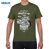 GILDAN DIY Style Men T Shirts Men Summer O Neck Biker Route 66 Motorrad Rocker Chopper