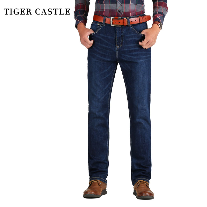 TIGER CASTLE Casual Mens Classic Bomull Jeans Stretch Male Business Denim Byxor Slim Fit Märke Overaller för män Storlek 38 40 42
