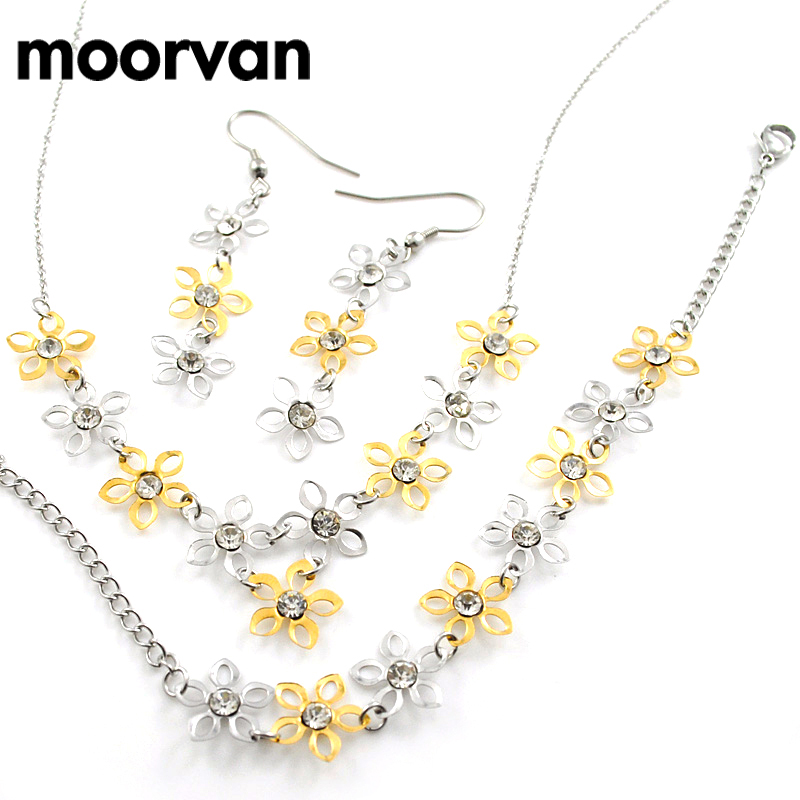 moorvan cute small flower necklace earrings bracelet anniversary