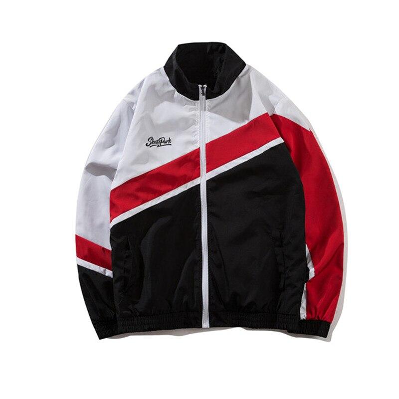 2018 Couples Color Block Windbreaker Jacket Autum Oversize Style Vintage Color Patchwork Track Jacket High Street Zip Up Coat
