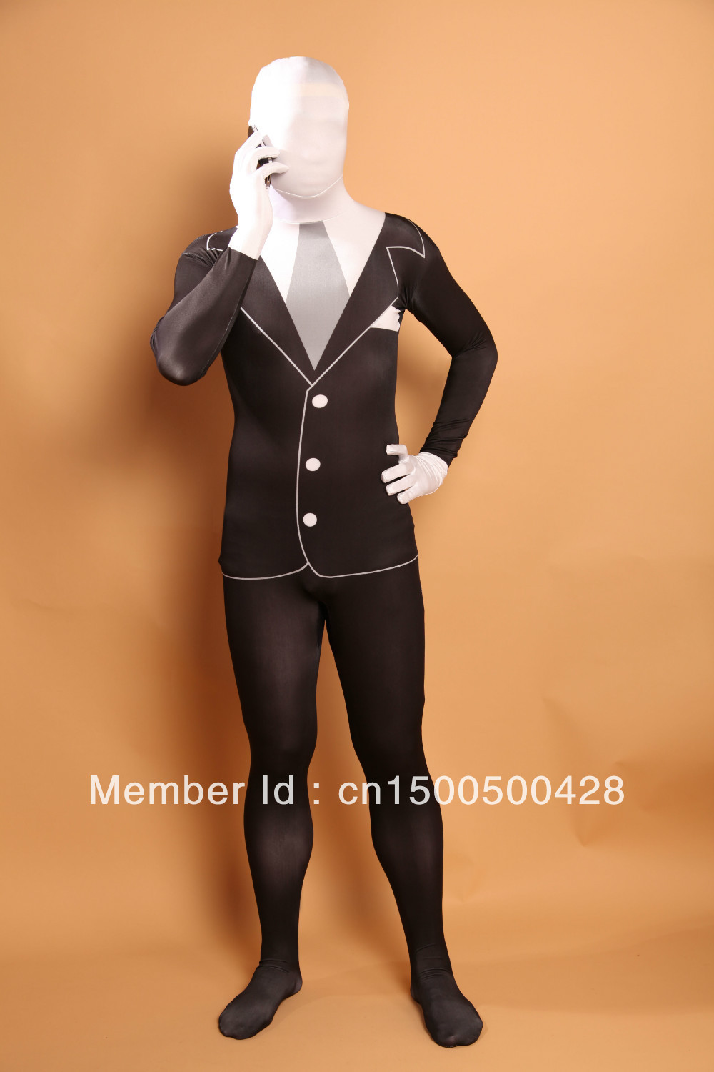 handsome black white split slender man lycra spandex halloween costume multi color zentai suit cosplay body suit in anime costumes from novelty special - Halloween Costume Slender Man