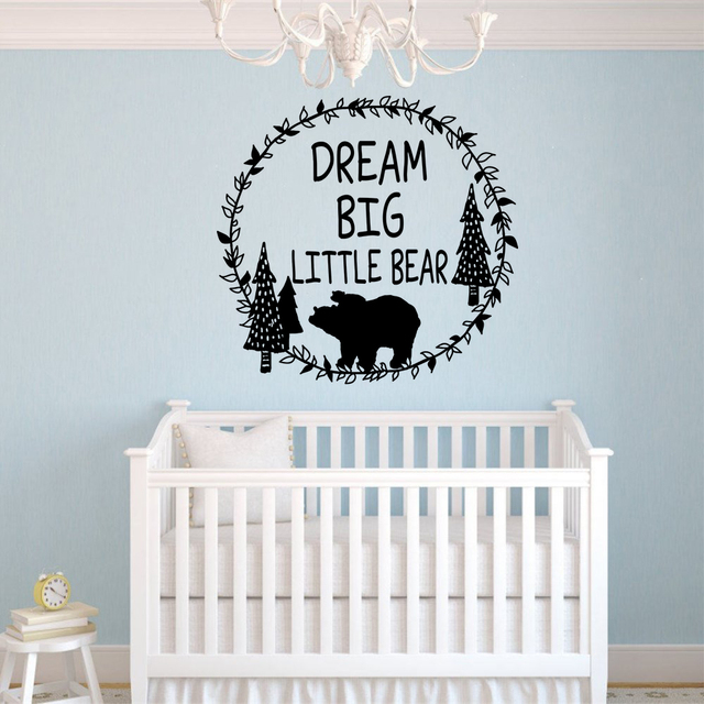 Woodland Wall Decal Dream Litter Bear Sticker Nursery Decoration Mural Forest Wallpaper
