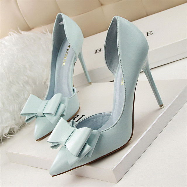 2016 Fashion Delicate Sweet Bowknot High Heel Shoes Side Hollow Pointed Women Pumps Pointed Toe 10.5CM thin Dress Shoes