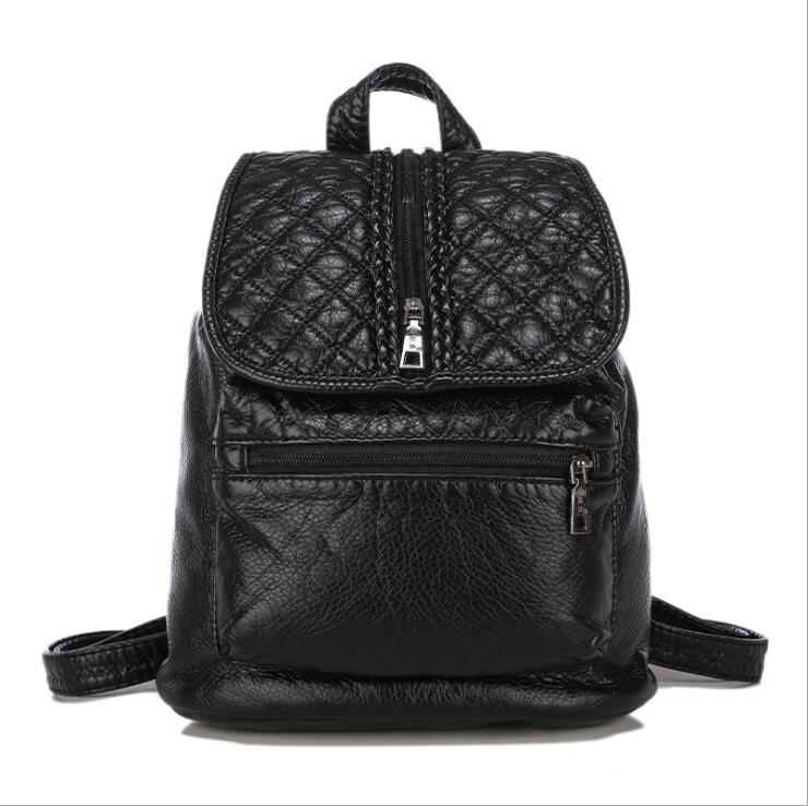 Pure black fold women backpack washable PU leather ladies bag woman college wind small backpack fashion
