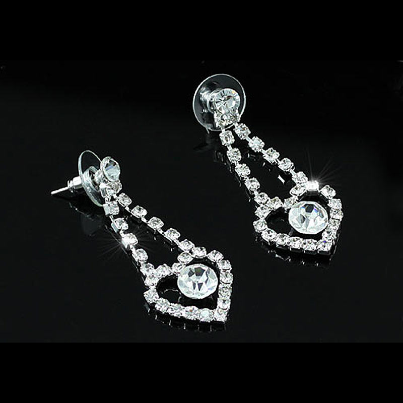 Bridal Wedding Party Quality Heart Crystal Necklace Earrings Set Bridesmaid Jewelry CS1189