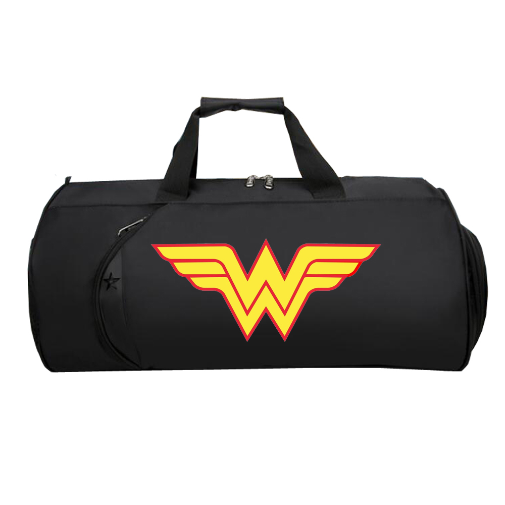 Men Large Capacity Carry Travel Luggage Bag Travel Duffle Shoe Pocket Overnight Weekend for Comics Super Hero Wonder Woman image