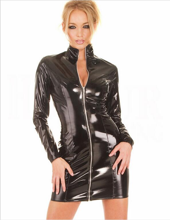 Sexy Ladies Zipper Faux Leather PVC Women Club Dress 2016 Long Sleeve Bodycon Party Dresses dress Outfits Club Wear Costumes