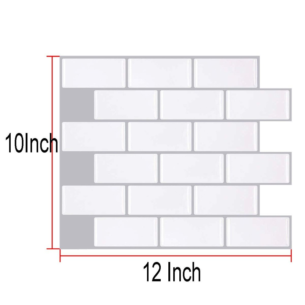 Wall Kitchen Peel And Stick Mosaic Tiles In Subway White (10 Pack)