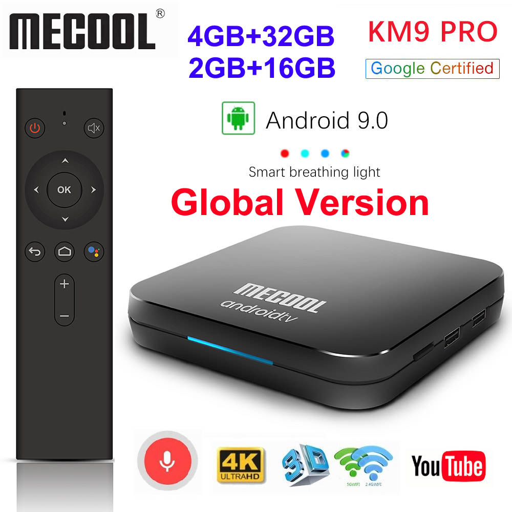 Google certifié MECOOL KM9 PRO Androidtv 9.0 KM3 ATV 4GB 64GB 32GB Android 9.0 TV Box Amlogic S905X2 4K 2.4G 5G double Wifi BT4.0