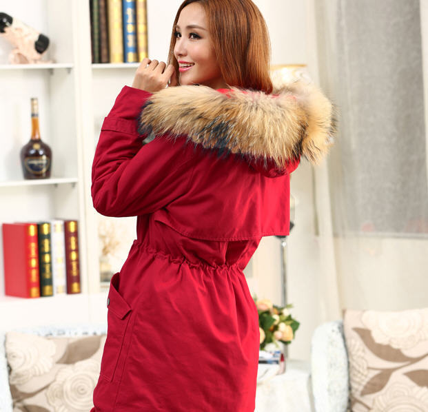 red winter Korean fashion casual slim thick genuine racoon fur/wool fur collar hood long wadded cotton padded jacket S-XXL D2128 2013 women autumn winter fashion candy color faux wool fur collar hood slim long thick cotton padded coatm l xl d2151
